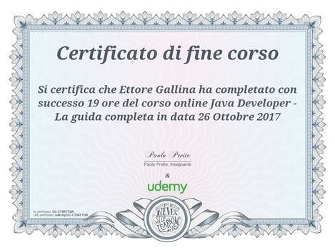 Certificato Java Developer