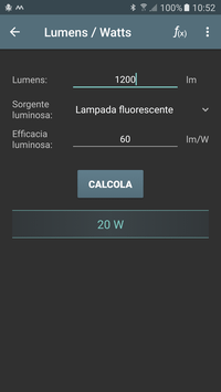 Screenshot conversione lumen watt