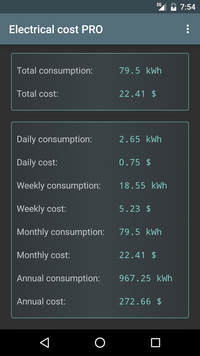 Electrical Cost Screenshot